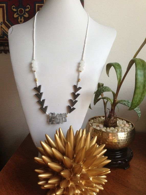 Mystic Quartz & Chevron Necklace @Etsy $32 #jewelry #tribal #chevron #geometric #fallcollection #mysticquartz #gemstone