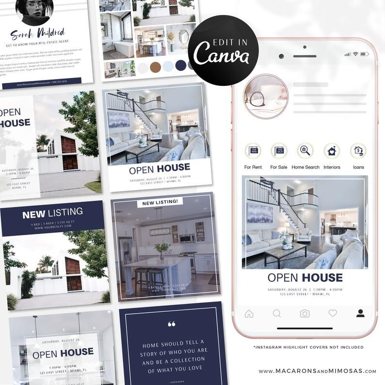 Real Estate Instagram Post Templates, Instagram Canva Post Template Bundle, Facebook Social Media Pack, Interior Design, Lifestyle