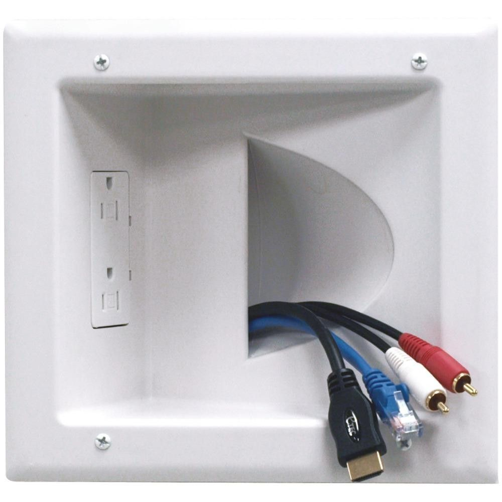 DATACOMM ELECTRONICS 45-0031-WH Recessed Low-Voltage Media Plate ...