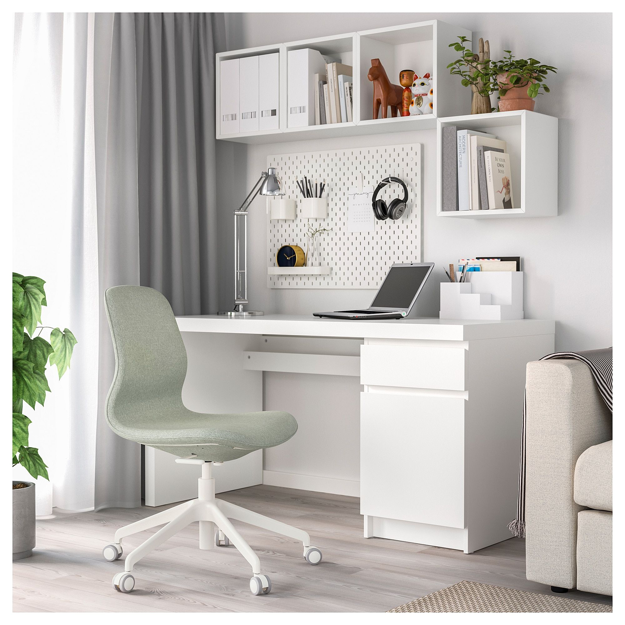 IKEA - LÅNGFJÄLL Office chair, Gunnared light gree