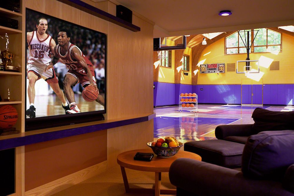 Indoor basketball court tv area dream home pinterest for Basketball court at home