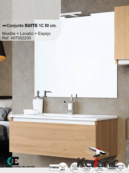 Mueble de baño Suite 1 cajón 60 cm. (conjunto mueble ...