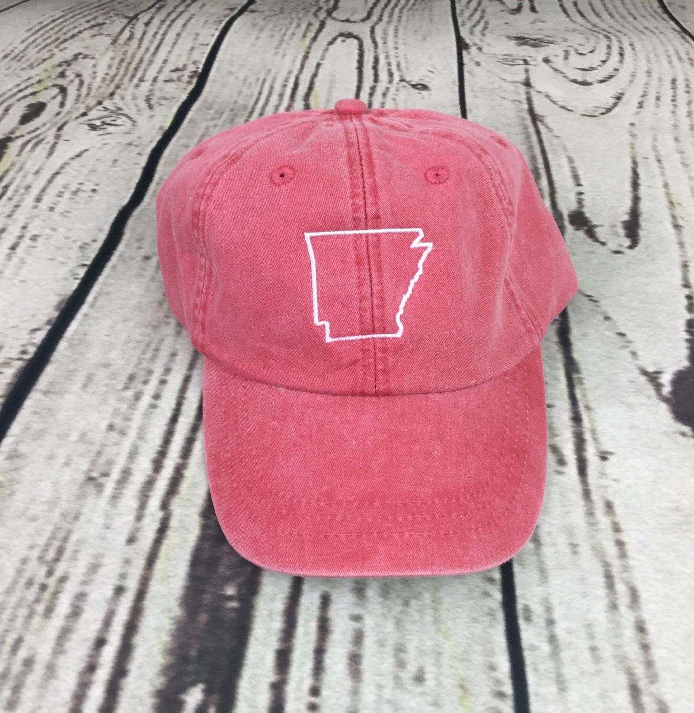 State of Arkansas baseball hat - Pigment dyed hat - State hat - Monogrammed hat - State outline hat - State hat - Sports team hat - Gameday hat - Arkansas hat - Team spirit hats