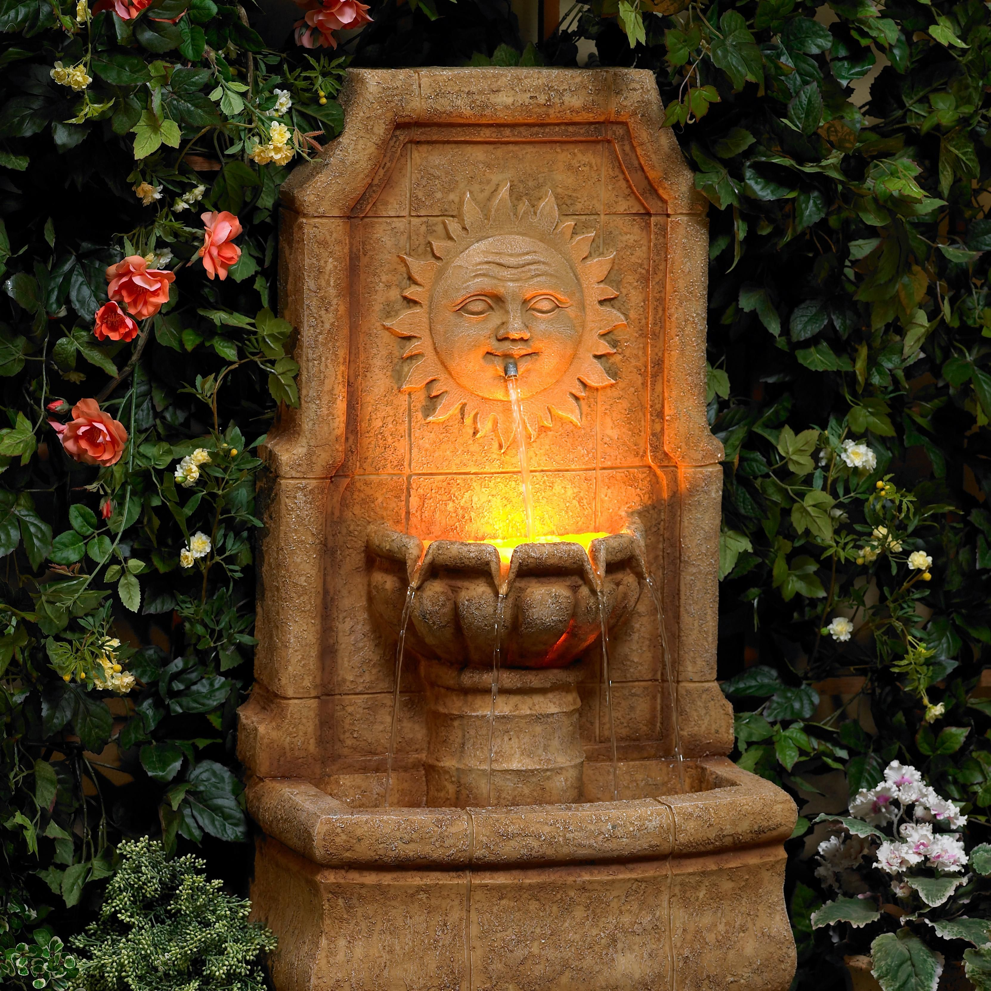 Sun villa faux stone 37h outdoor fountain with led lights outdoor sun villa faux stone 37h outdoor fountain with led lights workwithnaturefo