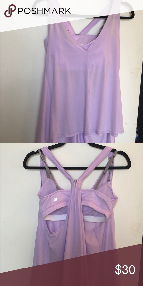 8067e31ab2 Lululemon flowy yoga top with built in bra Lavender flowy yoga top- worn  once! lululemon athletica Tops Tank Tops