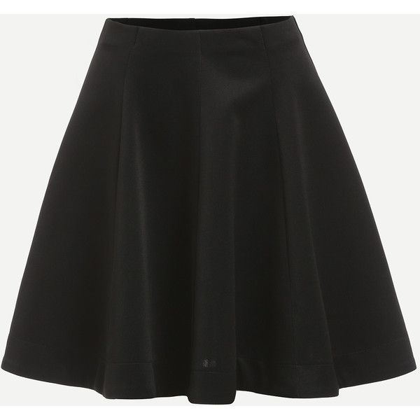 Plain Black Flare Skirt (46 PLN) ❤ liked on Polyvore featuring skirts, black, a line flared skirt, short skirts, short flared skirt, short skater skirt and skater skirts