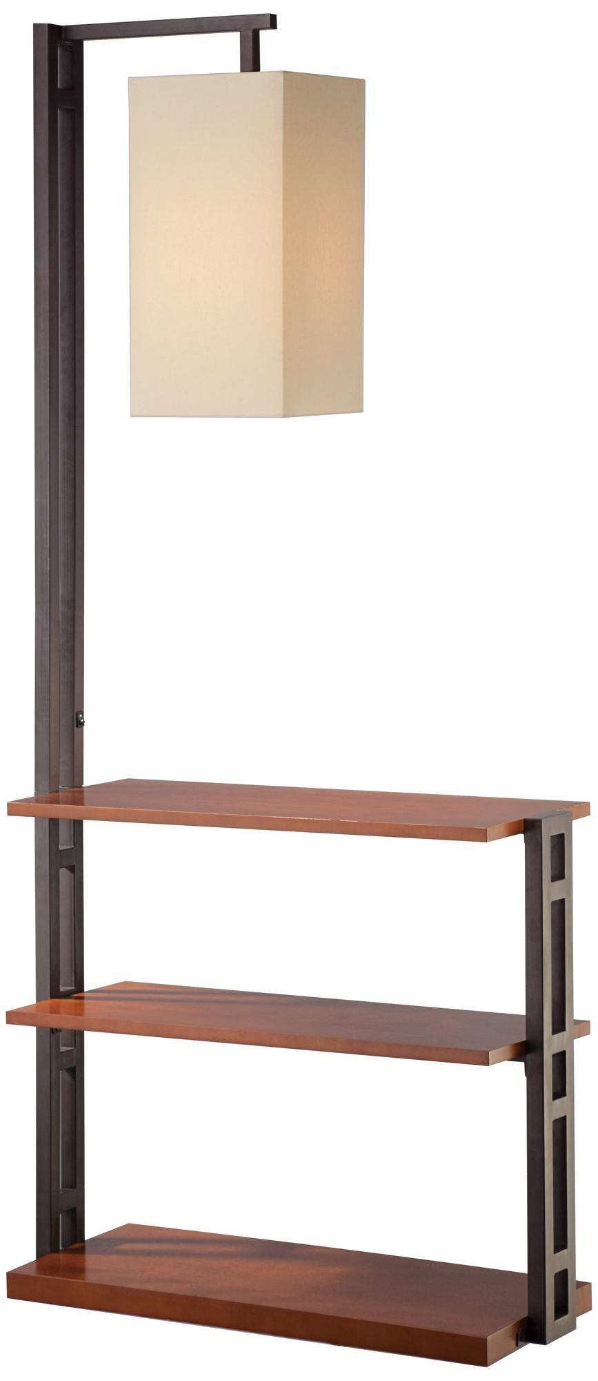 triple shelf floor lamp with beige linen shade 66x30x12 green house 42. Black Bedroom Furniture Sets. Home Design Ideas