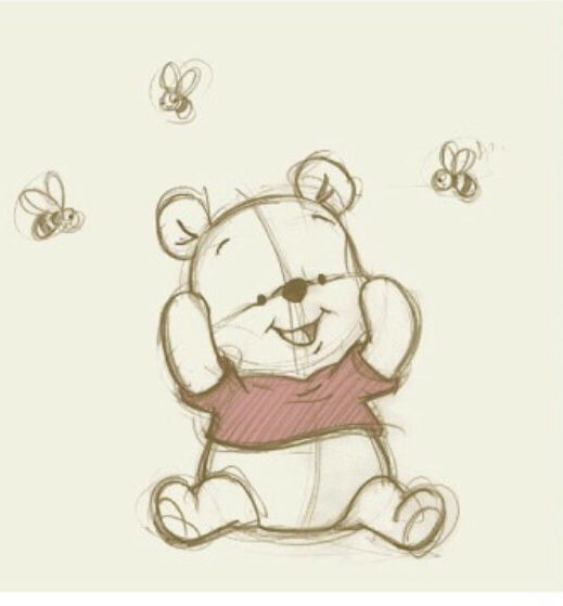 Pooh With Bees With Images Disney Drawings Disney Art Bee Art