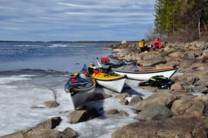 Canoeing in Finland on April. There's still snow...