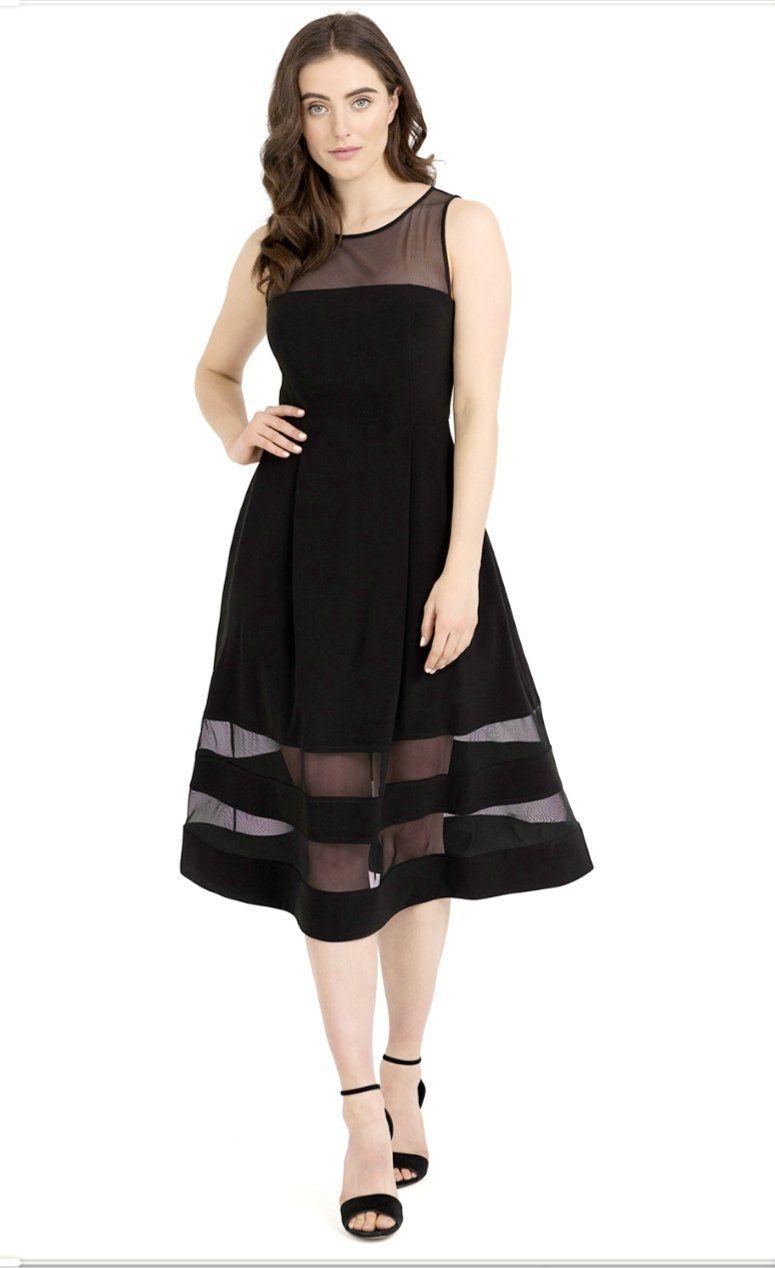 Joseph Ribkoff Top And Bottom Mesh Sleeveless Dress In 2021 Joseph Ribkoff Dresses Dresses Detailed Black Dress [ 1268 x 775 Pixel ]