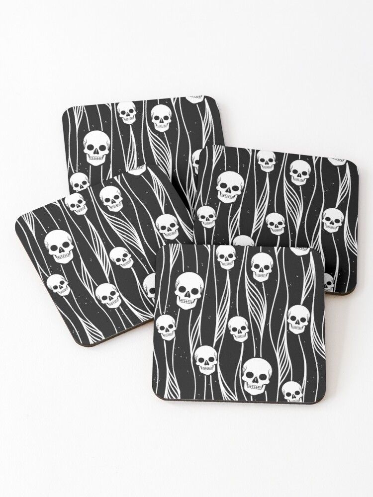 'Skull Pattern • Black And White • ' Coasters by Rike Mayer