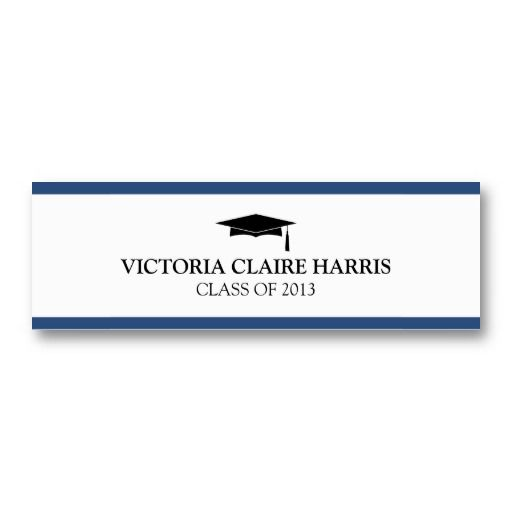 Blue stripe border graduation cap name card name cards for blue stripe border graduation cap name card business card templates flashek Choice Image