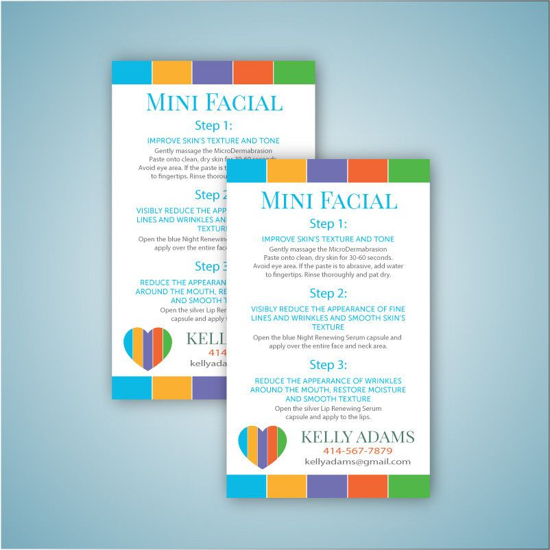 Rodan and Fields Mini Facial Card, Rodan and Fields Mini facial ...