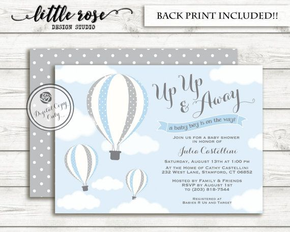 Hot Air Balloon Baby Shower Invitation Up Up Away Baby