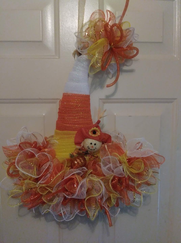 Cute candy corn wreath made from a dollar tree Halloween