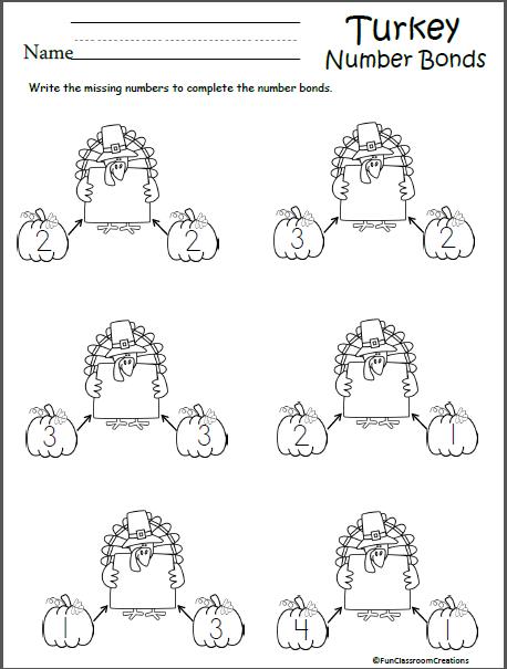 Math Number Bonds Worksheet For Thanksgiving Number Bonds