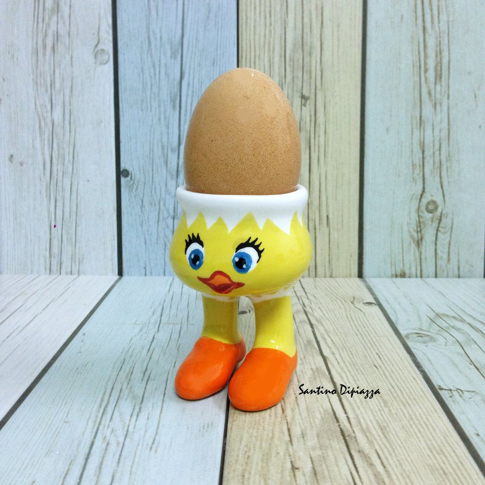 Cute Chick Egg Cup, Unique Egg Holder, Walking Pottery, Easter Egg Server, Chicken Novelty Cup, Chicken Coupe, Fine Porcelain, Ceramic Cup by WalkingPottery on Etsy