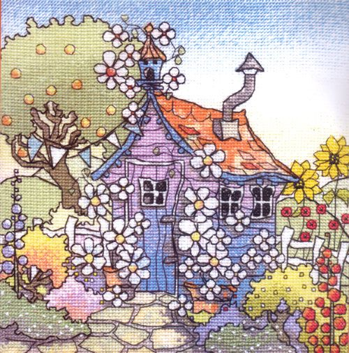 Michael Powell - Up The Garden Path.  His art transformed into cross stitch.