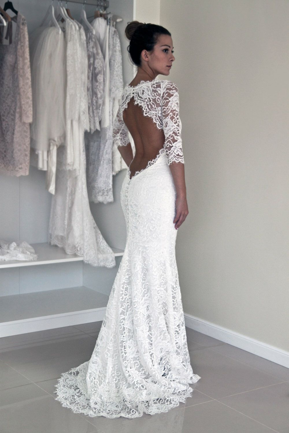 Keyhole back wedding dress in corded french lace illusion neckline