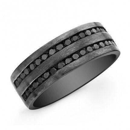 Black Diamond Mens Band - Sterling Silver - Black Rhodium