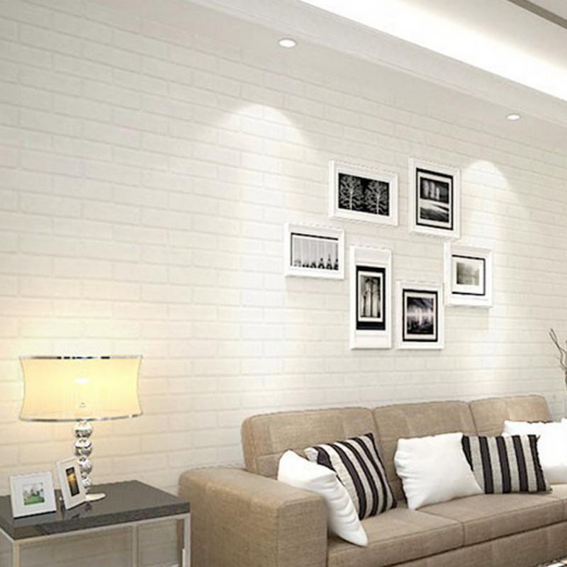 10x0 53m Bright 3d Pure Textured White Brick Stone Contact Paper Wallpaper Roll Paper Wallpaper White Brick Home Wall Decor
