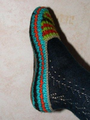 Bonitas zapatillas a crochet.