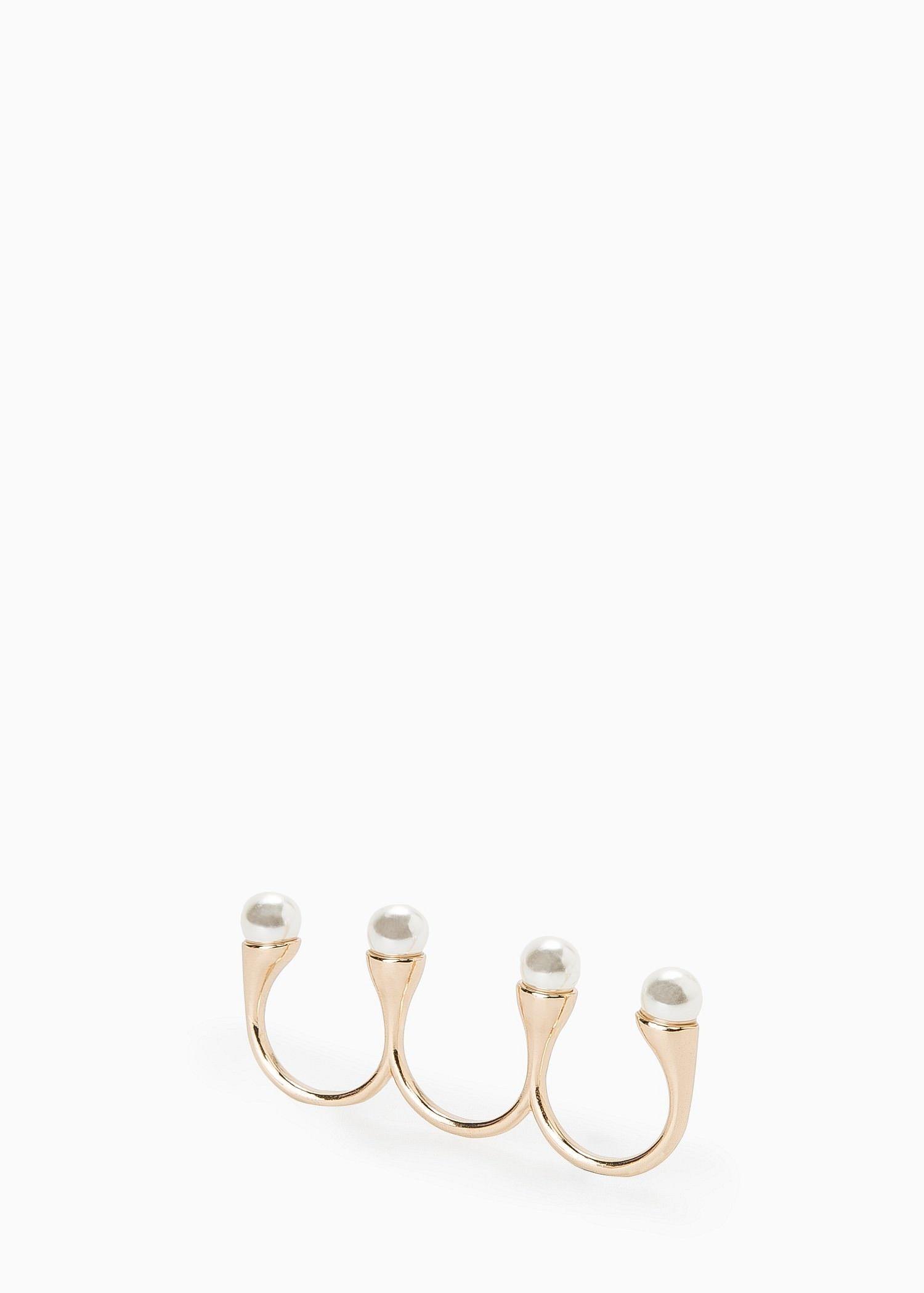 Anel triplo perlas - Mulher | MANGO
