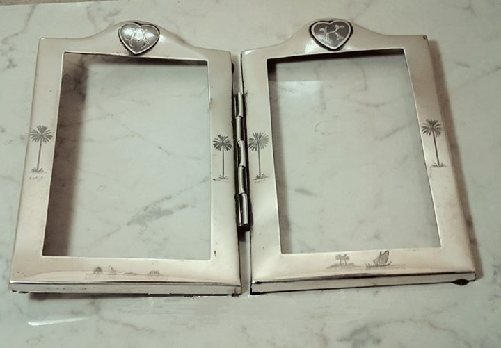 Iraqi Silver Double Photo Frame Decorated With Niello Circa 1930 S اطار صورة مزدوج من الفضة العراقية المزين بالمينا ا Cradle Of Civilization Mesopotamia Iraqi