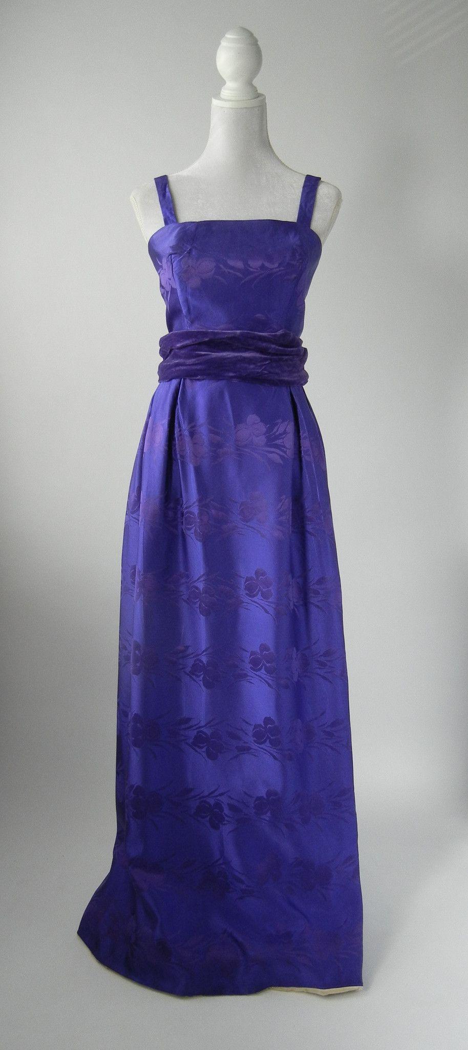 Vintage 1950s Dark Purple Satin Damask Gown, Medium