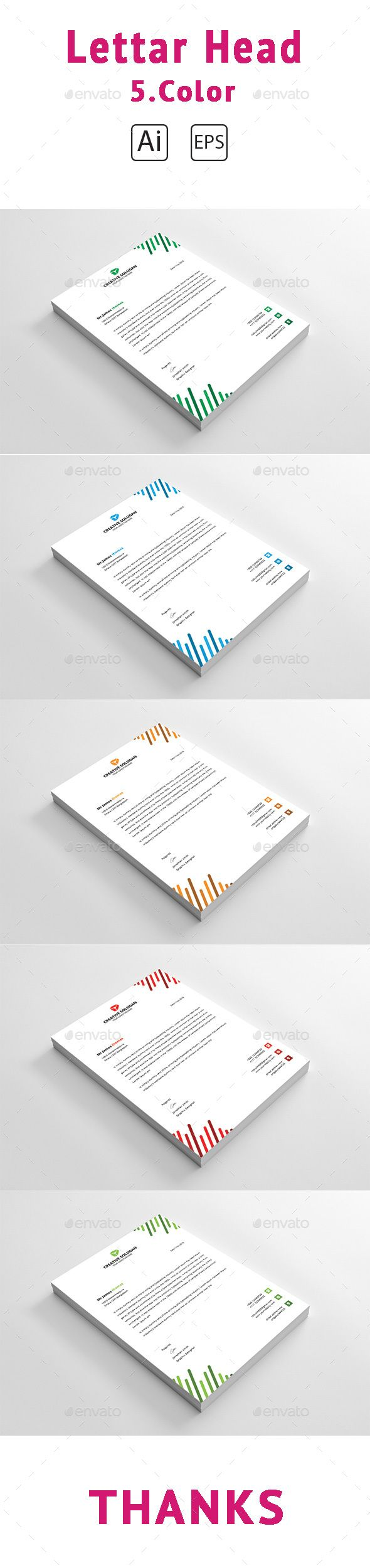 Corporate Letterhead Design Template  Stationery Print Template