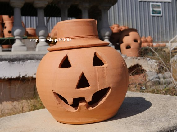 3 Gallon Terra Cotta Jack O Lantern Pumpkin With Hat From Craven Pottery Products Pumpkin Terracotta Pottery
