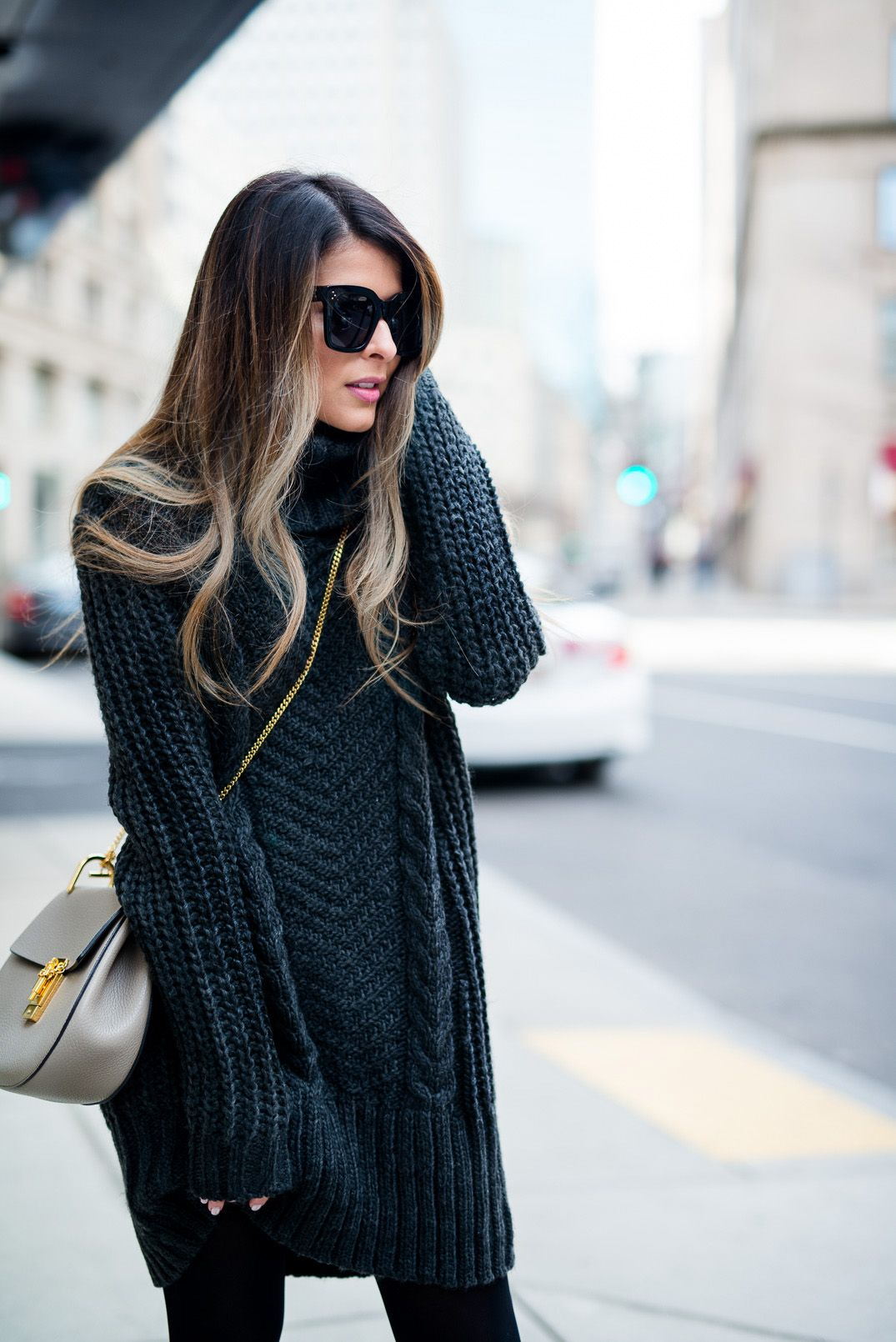 Sweater Dress | Ombre, Chloe drew bag and Black tights