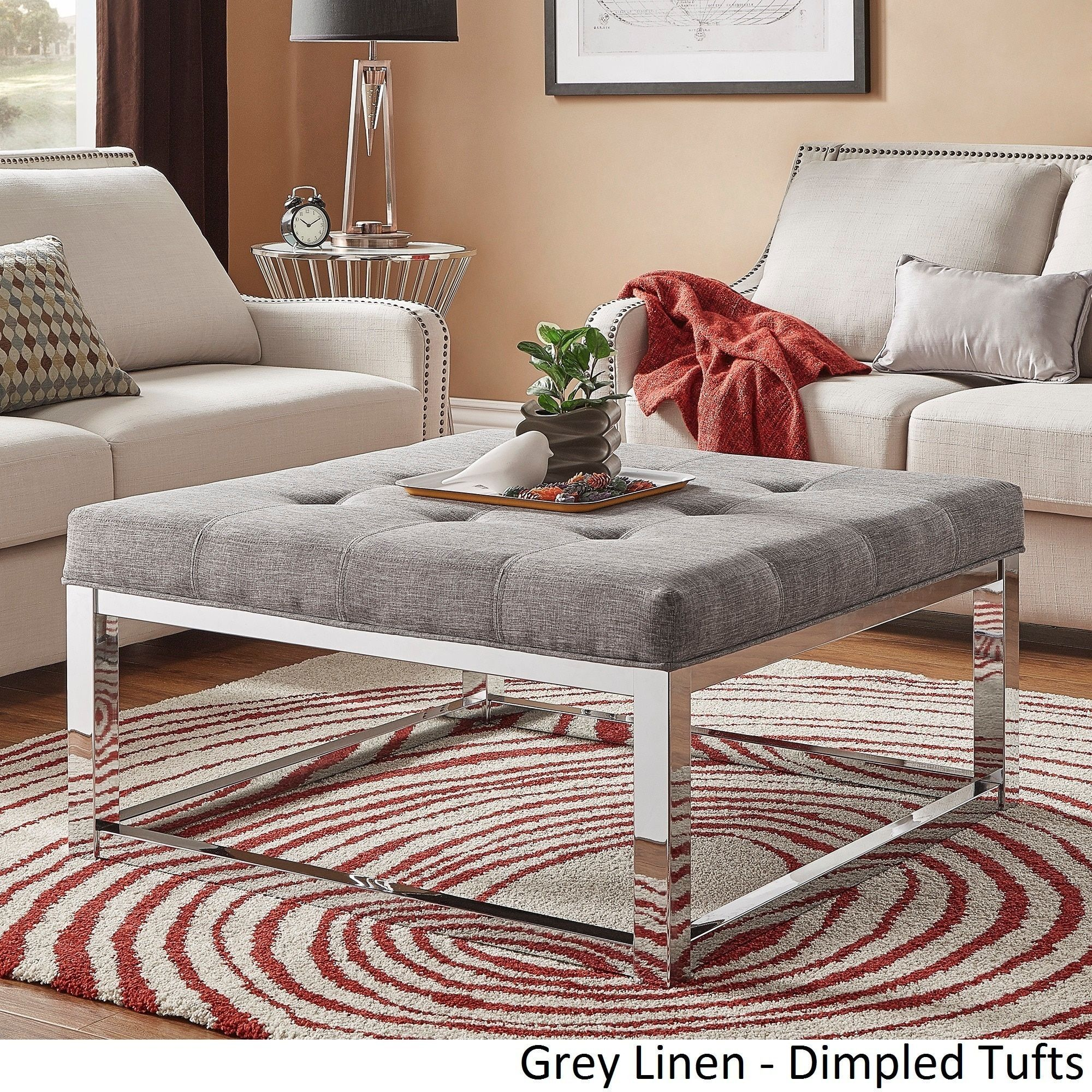 solene square base ottoman coffee table  chrome
