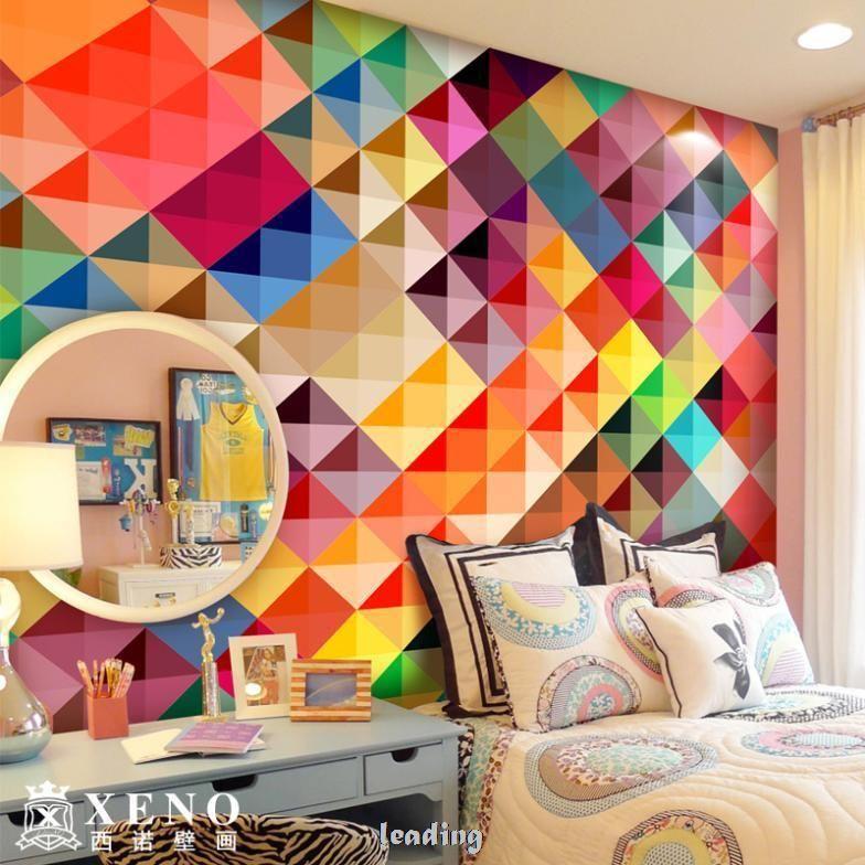 O grande mural papel de parede sofa tv quarto arte moderna papel de parede xadrez multicor US $23.00