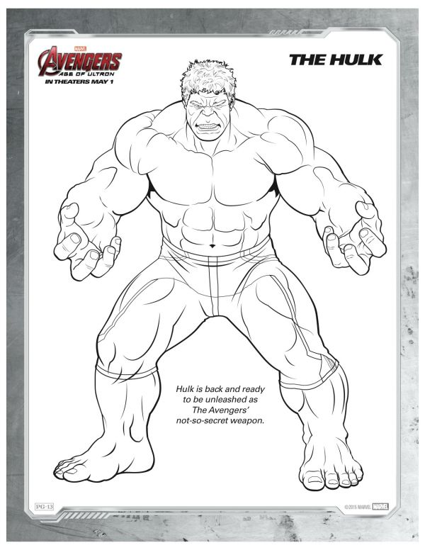 Free Printable Marvel Avengers Hulk Coloring Page Printable - new free coloring pages wonder woman