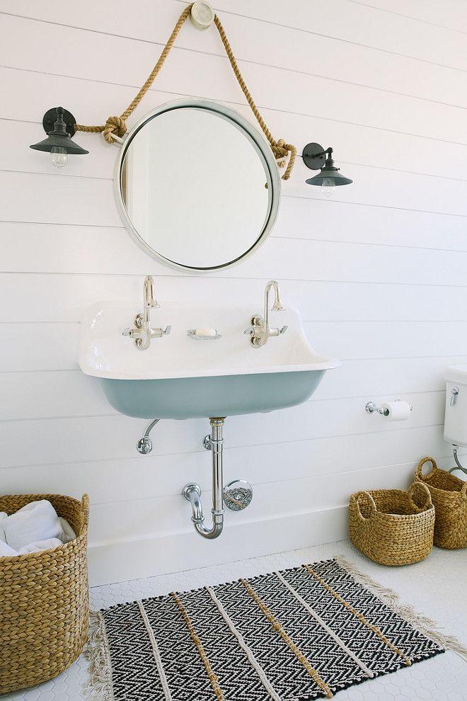 coastal interior ideas u0026 colours kids bathroom with blue kohler brockway sink and shiplap walls