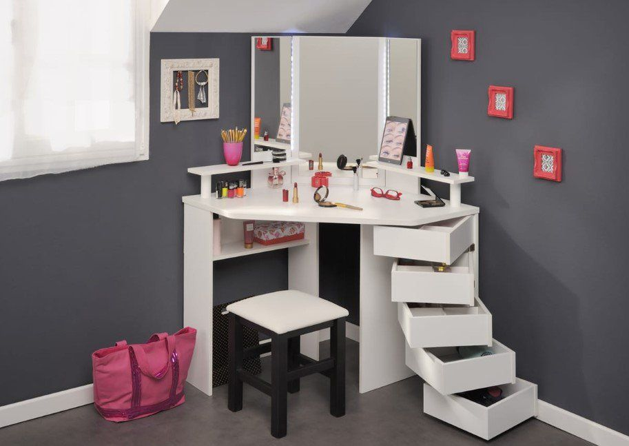 Ensemble Coiffeuse D Angle Girly Tabouret Sit Pas Cher Coiffeuse Auchan Iziva Com Coiffeuse Design Coiffeuse D Angle Mobilier De Salon