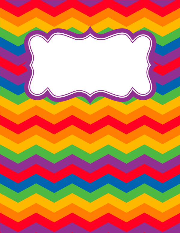 Free Printable Rainbow Chevron Binder Cover Template