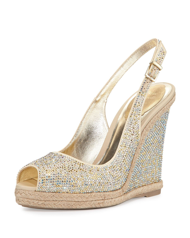 1f76d54ceb24 Rene Caovilla Crystal Wedge Espadrille Sandal