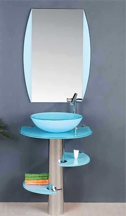 Bathrooms With Blue Vessel Sinks: Matches A Blue Tub That Might Be In My Future.