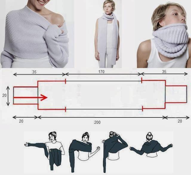 Patrones Crochet: Sueter y Bufanda, 2 en 1 en Croche o Tricot | knit ...