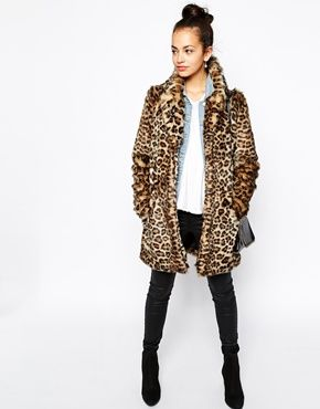 7e18330c7e6b5 New Look Leopard Print Faux Fur Coat in 2019