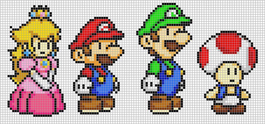 Mario Luigi Peach And Toad Perler Bead Mario Pixel Art