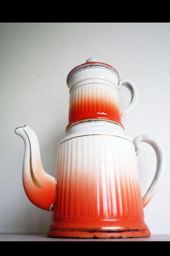 vintage antike orange weiß gold emaillierteTeekanne von EdeWerke