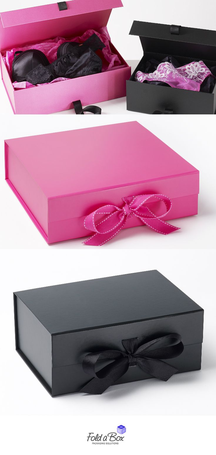 Our cerise pink and black gift boxes are perfect for lingerie POS ...