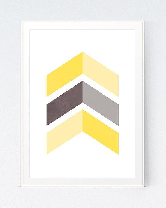 Yellow Grey Chevrons Wall Art, Gray Yellow Decor, Grey Yellow Wall ...