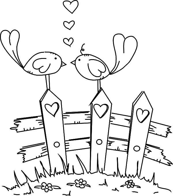 Love Birds Cute Cartoon Coloring Page Bird Stamp Digital Stamps Digi Stamps