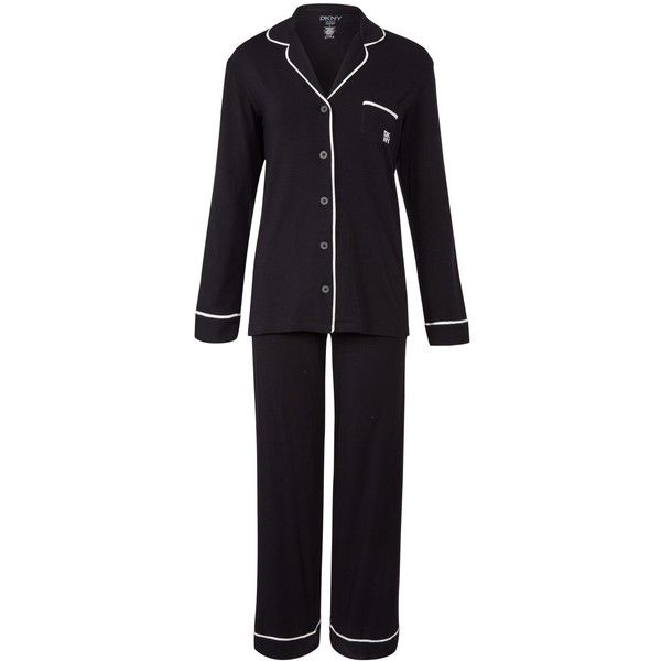 DKNY Urban Essentials Signature Pyjama Set, Black (780 SEK) ❤ liked on Polyvore featuring intimates, sleepwear, pajamas, modal sleepwear, dkny pajamas, black pajamas, modal pajamas and dkny pajama set