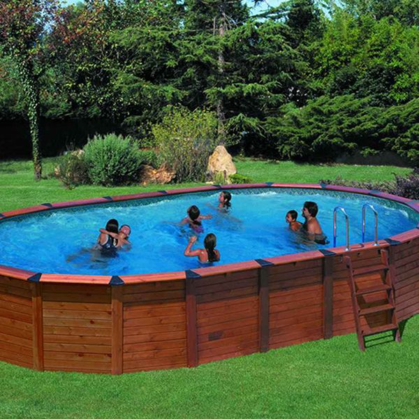 Piscine habillage bois en kit ovale  - piscine hors sol beton aspect bois
