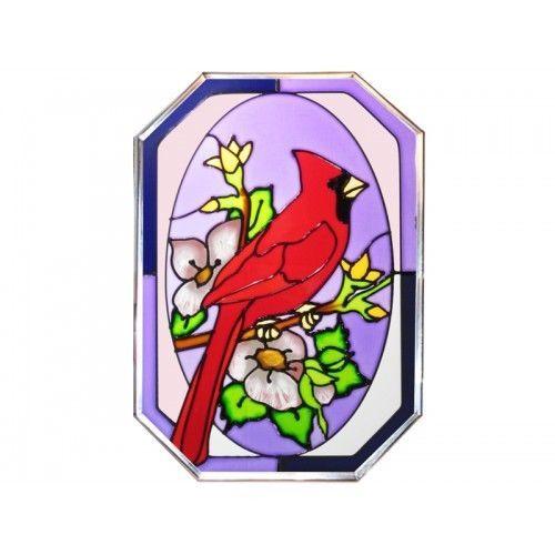 10x14 CARDINAL Bird Floral Stained Art Glass Suncatcher
